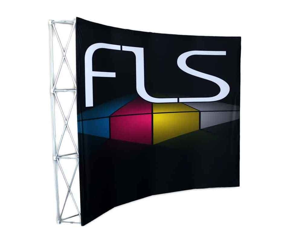 10ft Curved Fabric PopUp Display with Standard Graphic - Left View