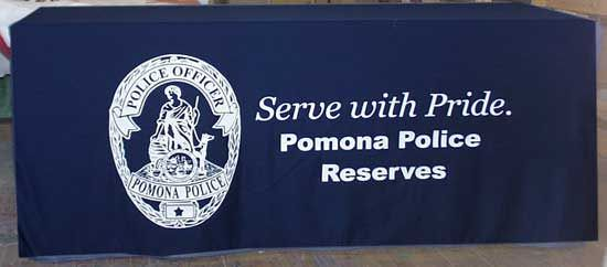 3 Sided, Fitted Style Table Throw, Pomona Police