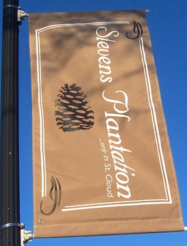 screen printed 2 sided Sunbrella street banner