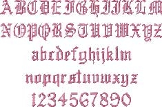 Old English Embroidered Font Options